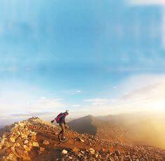 Unicycling down a mountain