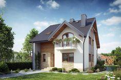 Zdjęcie projektu Ognikowo DM-6605 KRF2766 Modern Bungalow House, Prefabricated Houses, Attic Design, Small House Design, White Stone, Home Fashion, Home Goods, House Plans, Sweet Home