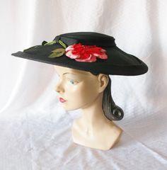 40's 50's Vintage Wide Brim New Look Black Hat by MyVintageHatShop, $53.00