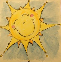 Artisan of Creative Miracles: Creating Challenge Day Sun Watercolor by Lisa Lauffer -- inspiration for stepping stone or fountain design Sun Moon Stars, Sun And Stars, Good Day Sunshine, You Are My Sunshine, Sun Drawing, Sun Painting, Happy Sun, Sun Art, Whimsical Art