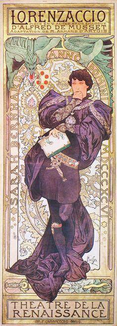 Alphonse Mucha poster for 'Lorenzaccio'