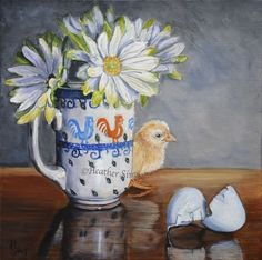 Polish pottery mug floral art still life chicken chick painting canvas NFAC Sims #Realism