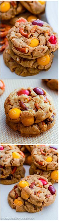 1 bowl Peanut Butter Pretzel M&M Cookies. Sweet, salty, and soft-baked! | sallysbakingaddiction.com