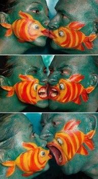 Fish face paint! I took my daughter to a museum and they did something similar to this on her. Kids love it!