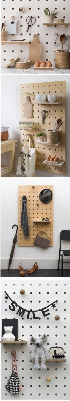 Peg board storage by Kreisdesign http://kreisdesign.com/collections/peg-boards/products/peg-it-all-wall-mounted-storage-panel-in-natural-birch-plywood Kitchen Wall Storage, Diy Storage Home, Pegboard Storage, Kitchen Pegboard, Birch Kitchen Cabinets, Clipboard Storage, Pegboard Display, Plywood Storage, Plywood Kitchen