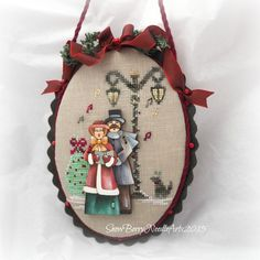Just Cross Stitch Christmas 2015 ornament with a fancy finish by SnowBerryNeedleArts