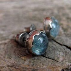 srebro,akwamaryn,surowe,sztyfty - Kolczyki - Biżuteria