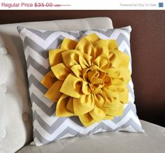 Im re-doing my living room in gray/yellow.  Think i need this pillow to kick it off!  Mellow Yellow Dahlia on Gray and White by bedbuggs, $31.50