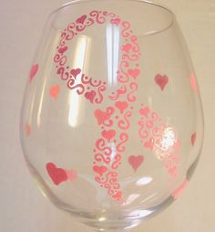 Pink Ribbon Hand Painted Wine Glasses Breast Cancer