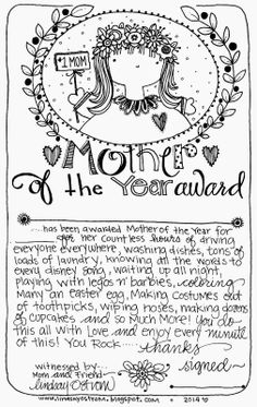Free printable Mother of the Year Award. Use for a Mother's Day Certificate or anytime to make mom smile~Lindsay Ostrom Signs For Mom, Graduation Day, Graduation Project, Disney Songs, Mother And Father, Mothers, Graphic Design Templates, Fathers Day Crafts, Mom Day