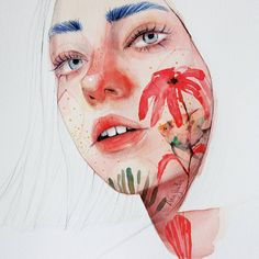 Spanish artist Ana Santos illustrates alluring portraits mixed with animals and nature. Art And Illustration, Illustrations, Watercolor Face, Watercolor Portraits, Realistic Drawings, Art Drawings, Art Aquarelle, Sketches Of People, Guache
