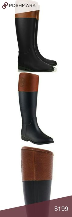 """NWT Tory Burch Leather Signature Knee High Boots Gorgeous black and brown tory burch boots. Perfect for spring fall and winter. 100% waterproof. Never worn. In excellent condition. Originally purchased from Nordstrom. 16"""" boot shaft, 14.5"""" calf circumference. Feel free to make an offer! Tory Burch Shoes Over the Knee Boots"""