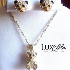 Gold Teddy Bear Necklace ($10) and Earrings ($ 6) #accessories #jewelry #fashionkids #kidsfashion #luxandlola #children #instagoods