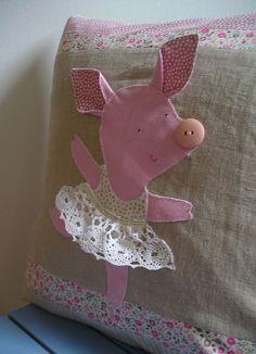 Too Cute for all! Balerina Anyuschka Piglovska - linen cushion cover | Flickr - Photo Sharing! By All