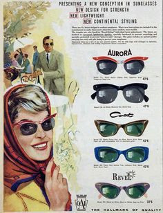 1961 sunglasses advertisement.  Preserve your memories at http://www.saveeverystep.com #nostalgia