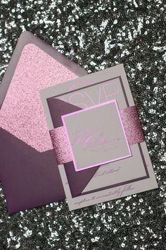 JESSICA Suite Glitter Package, hot pink, purple, glitter glam, fabulous glitter wedding invitations, glamour wedding invitations, foil wedding invitations