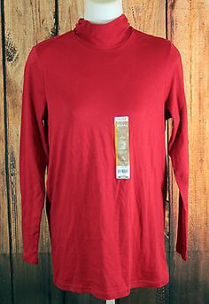 White Stag Red Long Sleeve Turtleneck Top Womens Shirts Size Medium 8-10 NEW
