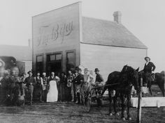 """Gathered around the kegs at Kelley's saloon """"The Bijou."""" Round Pond, Okla. Terr. By Kennett, January 1894."""