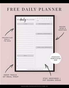 Staying Organised These Holidays   Free Daily Planner Printable