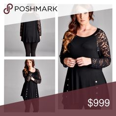 """2 LEFT! (Plus) Black lace top Black lace sleeve top. 95% rayon/ 5% spandex. Very soft! Looks great with leggings and boots or jeans! Bust easily stretches well beyond measurements  1x: L: 32"""" B: 40"""" 3x: L: 33""""  B: 44"""" ⭐️This item is brand new from manufacturer without tags.  🚫NO TRADES 💲Price is firm unless bundled 💰Ask about bundle discounts Availability: 1x•3x • 1•1 Tops Tees - Long Sleeve"""