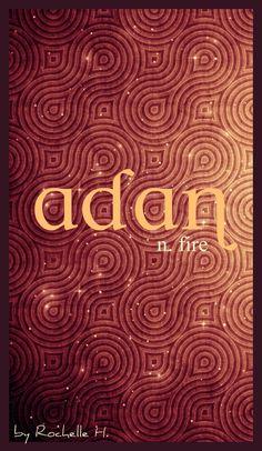 Boy or Girl Name: Adan. Meaning: Fire. Origin: Irish; Gaelic. http://www.pinterest.com/vintagedaydream/baby-names/