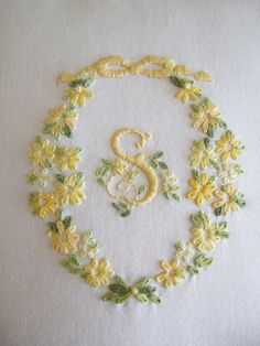 Yellow monogramed letter S - hand embroidered