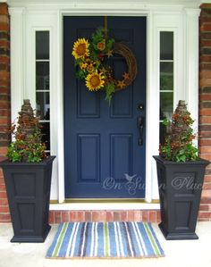 This looks so much like my front doors that I painted!! Even the harvest flowers!!