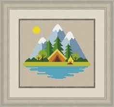 Wedding Cross Stitch Patterns, Easy Cross Stitch Patterns, Simple Cross Stitch, Cross Stitch Baby, Loom Patterns, Cross Stitch Kits, Cross Stitching, Cross Stitch Embroidery, Cross Stitch Landscape