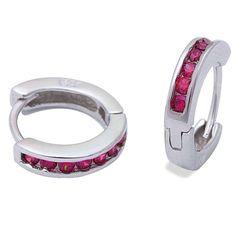 3mmx13.5mm Hoop Earrings Solid 925 Sterling Silver Channel Round Red Ruby Hoop Huggies Earrings July Birthstone Gift