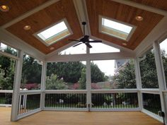 covered deck with sky lights. this would be great for get togethers