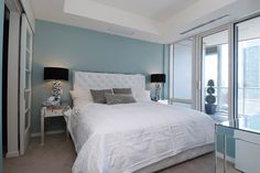 Martha Stewart Tidewater bedroom with mirrored console & side tables - a perfect palette