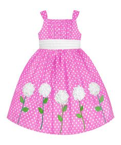 Look at this #zulilyfind! Pink & White Polka Dot Rosette Dress - Toddler & Girls #zulilyfinds