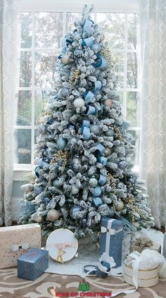 tree blue Beautiful Foot King Flock Christmas Tree With LED Lights. Thank You bluegraygal for the gorgeous setup!christmas tree blue Beautiful Foot King Flock Christmas Tree With LED Lights. Thank You bluegraygal for the gorgeous setup! Blue Christmas Tree Decorations, Elegant Christmas Trees, White Christmas Trees, Flocked Christmas Trees Decorated, Christmas Mantles, Christmas Christmas, Christmas Ornaments, Realistic Christmas Trees, Christmas Tree Inspiration
