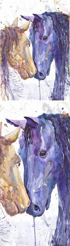 Horse art, watercolor print, equine art, horse painting , horse gift, horse lover, farm animal art, abstract horse print, equestrian decor Two horses art