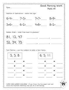 Teacher Idea Factory - FREE Good Morning Work (Math) Tester Pages for January.  Common Core aligned!