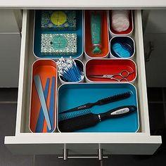 A metal drawer organizer to keep your vanity in tip-top shape. No more wondering where your tweezers are — they're right in front of your face! 27 Things To Organize Every Cabinet And Drawer In Your Home