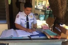 Security guard is still on duty hours before he graduates
