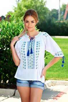 Solemnity Blue Traditional Blouse, elastic cleavage, embroidery details, ribbon fastening, sleeves are fastened with a cord What Should I Wear Today, Cord, Ribbon, Traditional, Embroidery, Detail, My Style, Blouse, Sleeves