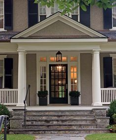 front door colors for gray house with black shutters gray house white trim black door shutters love the exterior colors and the front door front door colors for gray house with black shutters Design Exterior, Exterior House Colors, Exterior Paint, Gray Exterior, Exterior Stairs, Grey Siding, Exterior Windows, Stucco Exterior, Door Design