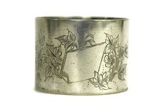French Antique Silver Napkin Ring with Engraved by LeBonheurDuJour