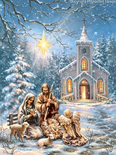 The Nativity Scene of Mary and Joseph and Baby Jesus with an angel and cute little lambs with a star of Christmas by the church