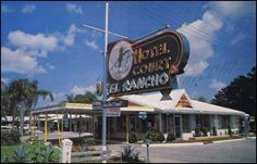 """El Rancho Hotel Court, Tampa FL, 1960s. Interesting that they used both """"hotel"""" and """"court"""" in their name...usually it's one or the other."""