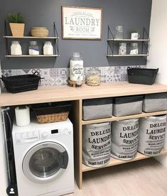 scandinavian furniture Home Deco auf In - furniture Laundry Room Organization, Laundry Room Design, Small Laundry Rooms, Bathroom Storage, Small Bathroom, Bathrooms, Home Deco, Küchen Design, House Design