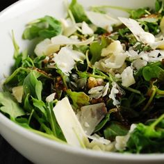 Using health arugula is a salad is one of my favorite things. This Arugula and parmesan Salad recipe is not only easy and delicious, it's just 1 Points + per serving. It is a great, low calorie side dish recipe that can be prepared very quickly and will l