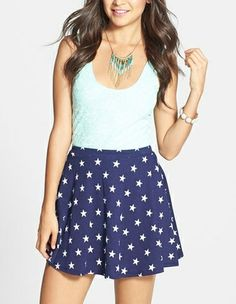 Cute! Love this blue and white star print skater skirt.