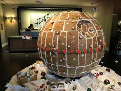 """A picture of a 'fully operational' gingerbread Death Star is going viral, and Star Wars fans can finally stop looking for Christmas inspiration in """"Alderaan"""" places. The person who created it used flat sheets of Star Wars Christmas, Christmas Gingerbread House, Christmas Cookies, Christmas Time, Gingerbread Houses, Xmas, Funny Christmas, Gingerbread Cookies, Christmas Decor"""