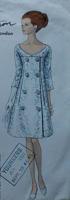 Vintage 60's Vogue Couturier Design RONALD PATERSON Dress Sewing Pattern