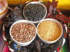 Dried pinto and black beans - never canned - are used for the rice and bean dishes at 3 Chicas.