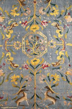Augusta Auctions Textiles: embroidered silk panel, portugal, 17th-18th c