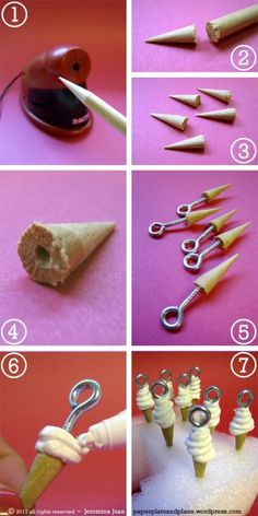 How To: Ice Cream Charms. Maybe I could modify this idea to make it easier for a group of teens to make...